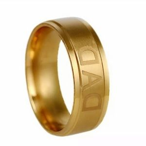 New Man Stainless Steel DAD Band Ring Gold NWT